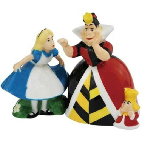 Disney Alice In Wonderland and Queen of Hearts Ceramic Salt & Pepper Shakers NEW