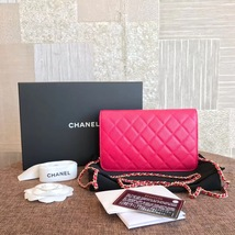 100% AUTH CHANEL HOT PINK Caviar Leather WOC Wallet on Chain WOC Bag GHW image 2