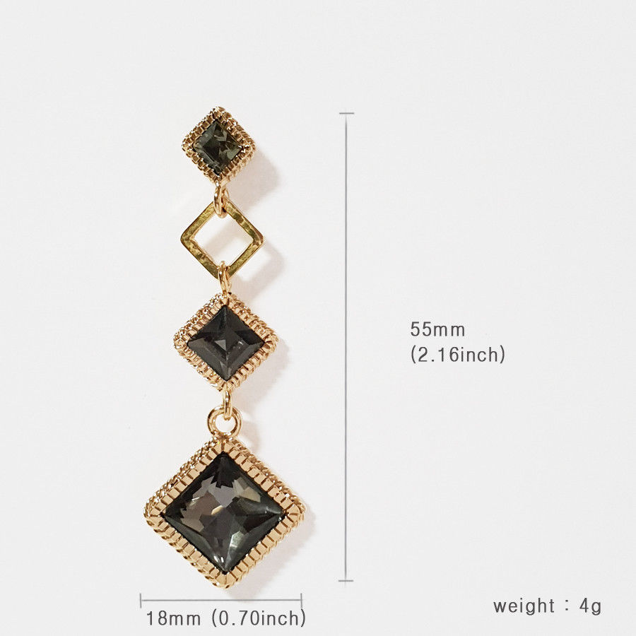 SE50 Women Diamond Shape Drop Earrings Made with Swarovski Crystal  Silver 925