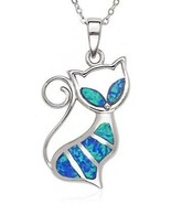 Sterling Silver Created Blue Opal Cat Pendant With 18 Chain - $100.58