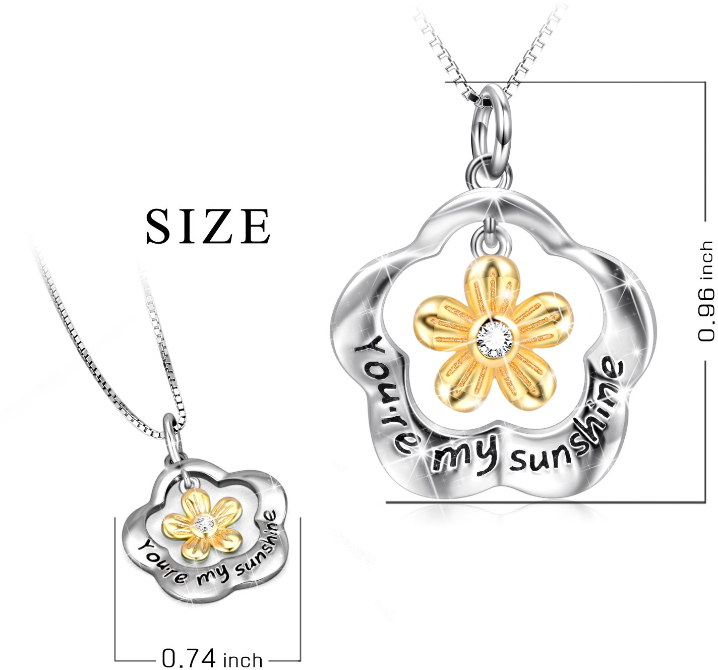 POPLYKE You are My Sunshine Sterling Silver Sunflower ...