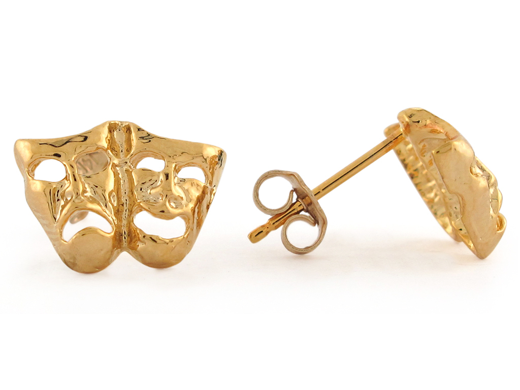 10K or 14K Yellow Gold Comedy/Tragedy Drama Mask Stud Earrings