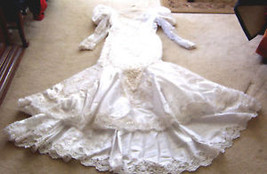"White Beaded Wedding Gown, up to 40"" bust & 31"" waist - $470.25"