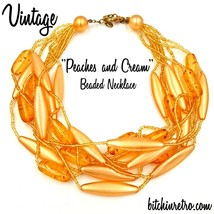 Vintage beaded necklace peach and apricot tones   bitchinretro.com thumb200