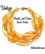 Vintage Beaded Necklace in Peach and Apricot Tones  - $20.00