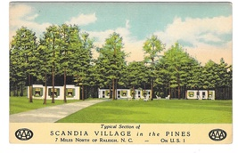 Scandia Village in the Pines US Route 1 Raleigh NC Vintage AAA Motel Postcard - $4.99