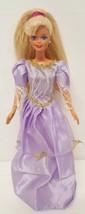 Mattel Barbie Doll 1976 Superstar Head '93 Body Purple White Lace Gold Bow Dress - $24.74