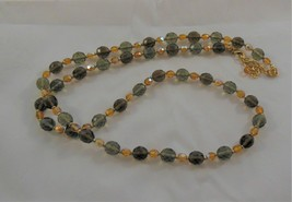 Joan Rivers Brown Amber Gray Tone Glass Bead Necklace 35 inches long - $15.83