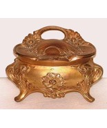 Art Nouveau Jewel Casket, Embossed Daisies, Gold Ormolu Brass, Trinket Box - $65.00