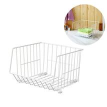 Storage Basket Iron Art Japanese Style Stackable Snacks Fruits White Org... - €56,66 EUR