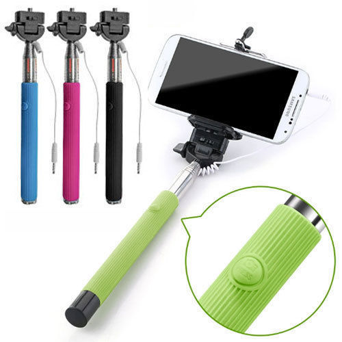 Extendable Wired Selfie Stick Monopod With Shutter Button
