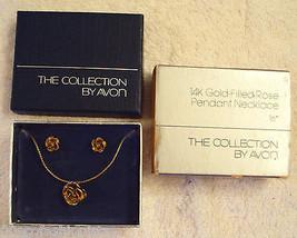 """Avon 14 K Gold Filled Rose Bud Stud Earrings Pendant 16"""" Serpentine NECK... - $29.66"""