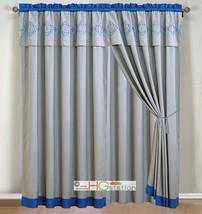 4-P Embroidery Quatrefoil Geometric Trellis Curtain Set Blue Silver Gray Valance - $40.89