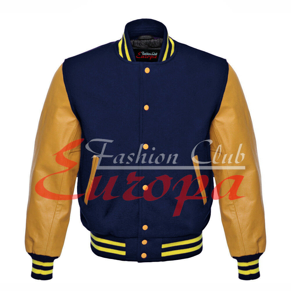 Primary image for Original American Varsity Real Leather Letterman College Navy Wool Jacket XS-4XL