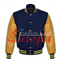 Original American Varsity Real Leather Letterman College Navy Wool Jacke... - $87.00