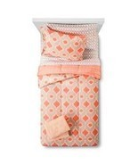 Room Essentials TWIN/XL Coral/Taupe/Gray Dorm 7 Piece Bedding Set & Towe... - $121.51