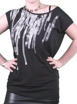 Bench GB Mujer Negro de Ley 925 Manga Japonesa Escote en U Camiseta BLGA2369 Nwt image 1