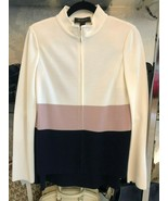 ST. JOHN Black Label White, Mauve & Navy Jacket w/ Navy Skirt Suit Sz 4 ... - $444.41