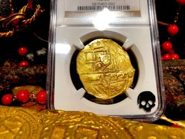"""SPAIN 8 ESCUDOS 1665-1700 """"BRUTE STYLE"""" NGC 58 PIRATE GOLD COINS TREASUR... - $5,950.00"""