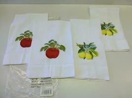4 Fingertip Guest Towel Bathroom APPLE / LEMON Stitched Embroidered NEW ... - $18.80