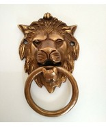 Aged Brass Cast Heavy Duty Lion Head Door Knocker Brown Color Home Decor... - £38.38 GBP