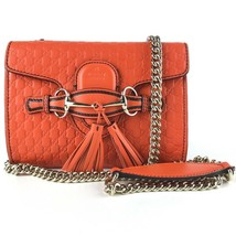 NWT GUCCI 449636 Emily Mini Microguccissima Leather Shoulder Bag, Orange - $1,450.50