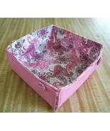 reversible folding fabric box paisley pink gray white bedroom bathroom l... - $5.93