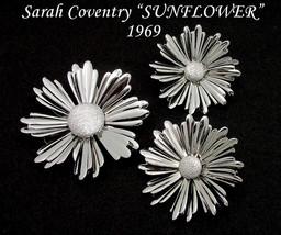 Sarah Coventry SUNFLOWER Brooch Earrings Set From 1969 In Silver Tone - $12.95