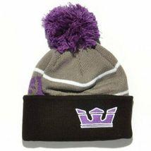 Supra Black Purple Grey Knit Pom Pom Winter Skate Fold over Beanie NWT image 4
