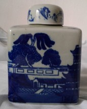 Vintage Flow Blue Jar Cookie Ironstone w/ Removable Lid Asian Countrysid... - $49.45