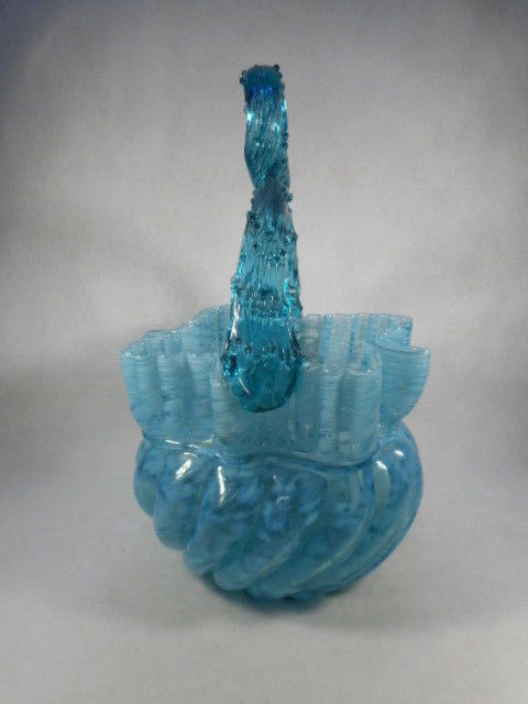Victorian Turquoise Blue Opalescent Splatter Art Glass Thorn Handled Basket
