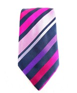Louis Copeland Mens Tie Multi Color Pink Diagonal Striped Pure Silk Made... - $14.84