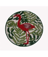"""Tropical Flamingo Leaves Beaded 14-1/4"""" Round Table Mat Greens White Pin... - $32.99"""
