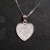 New 14k White Gold On 925 Cute Heart Pendant Charm - $37.39