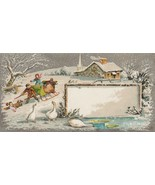 Victorian Trade Card Sleigh Ride by Duck Pond Silver Background - $5.93