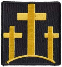 Black and Yellow Three Crosses Embroidered Iron-On Patch - 2.25x2.5 inch... - $5.89