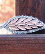 Fabulous Vintage Crown Trifari© Textured Stylized Aquamarine Rhinestone ... - $275.00