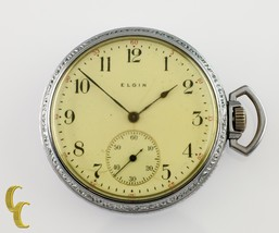 Nickel Elgin Antique Open Face Pocket Watch Grade 302 Size 12 15 Jewel - $148.50