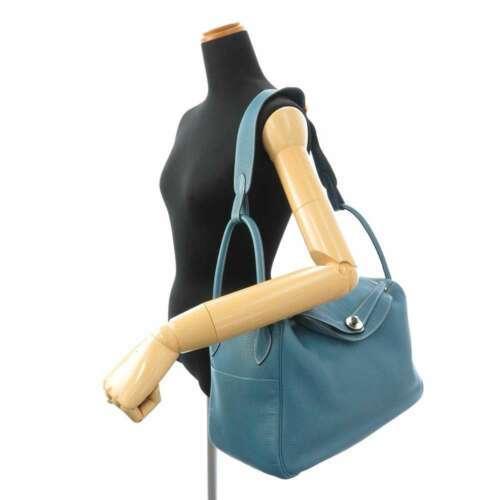 HERMES Lindy 34 Taurillon Clemence Blue Jean Handbag Shoulder Bag #Q Authentic image 12