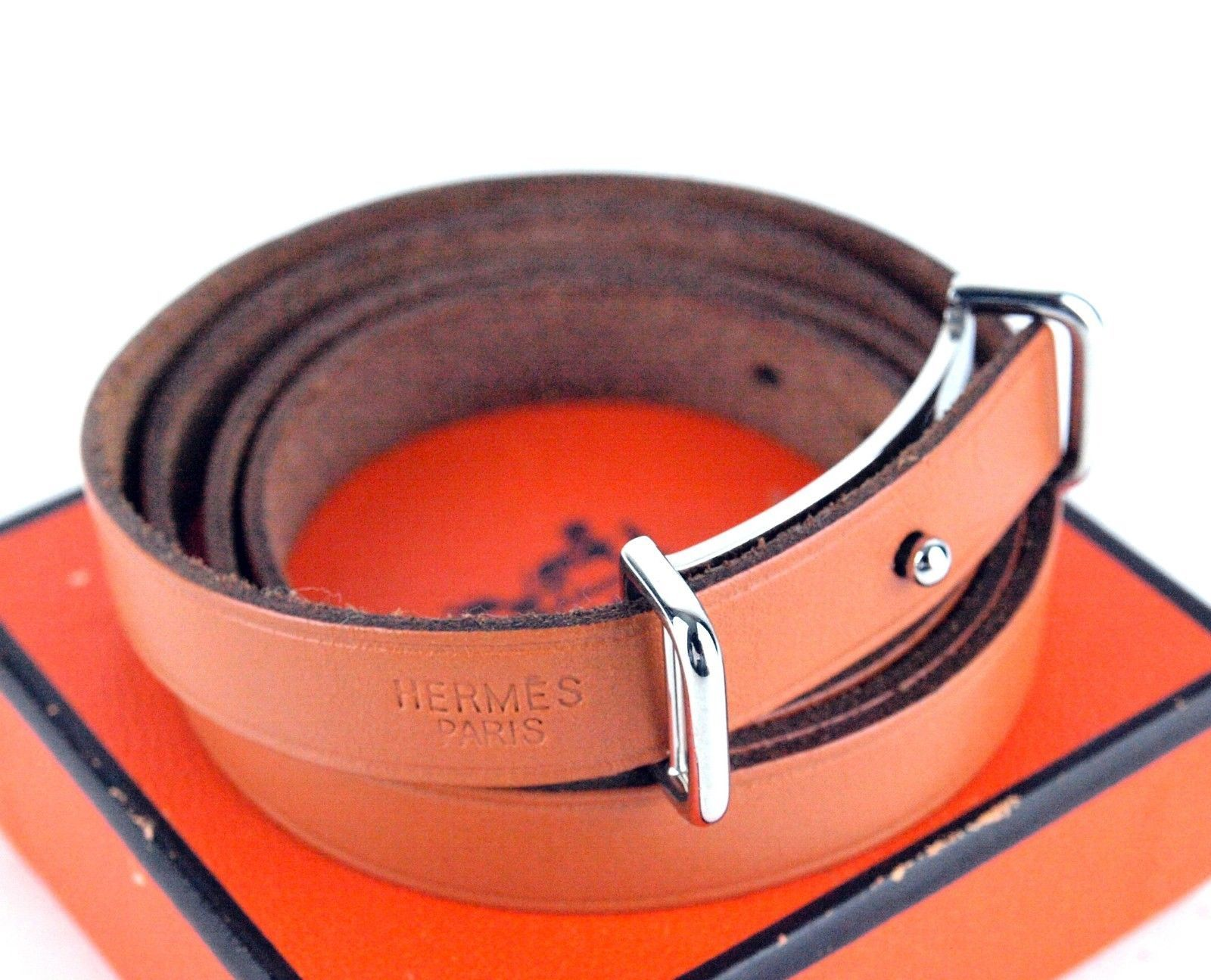 Primary image for Auth Hermes Brown Leather Api 3 Long Bracelet Wristband Belt Accessory w/ Box