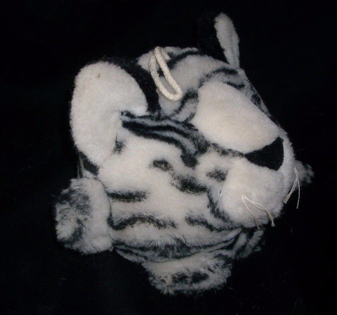 VINTAGE MAIN JOY LIMITED WHITE BLACK PURRING PURR TIGER STUFFED ANIMAL PLUSH TOY image 2