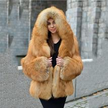 Women's Top Winter Fashion Elegant Thick Warm Natural Color Faux Fur Overcoat image 3
