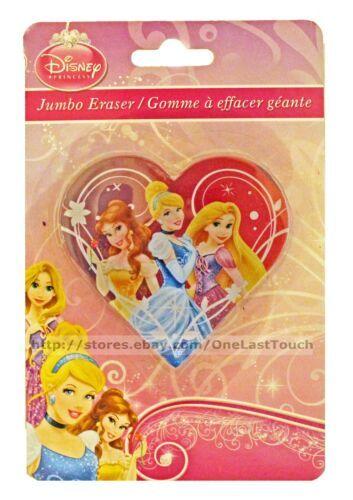 DISNEY PRINCESS* Heart Shaped JUMBO ERASER School/Office BELLE+CINDERELLA+MORE