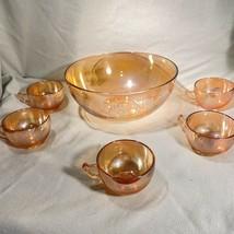 Luster Eggnog Punch Bowl Cups Set Jeanette Vintage Marigold - $28.04