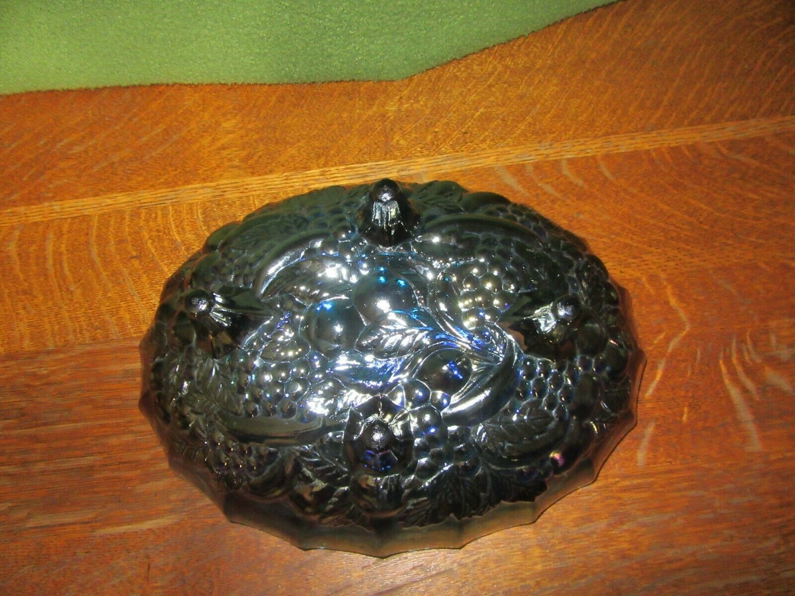 Vintage Iridescent Blue Carnival Glass 4 Footed Center Piece Fruit Bowl-Grape image 5