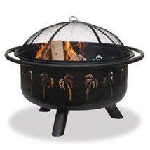 "Uniflame Wood Fire Pit Palm Tree 32"" Outdoor Patio Deck Fireplace  - $193.99"
