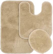 Deco Plush 3 Piece Wahsable Bathroom Rug Set - Linen Beige - Lid, Contou... - $48.51