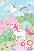 ENFANTS LICORNE ARC-EN-CIEL ROSE VERT BLEU 2,32M x 1,58 M ART MURAL MURAL - $48.25