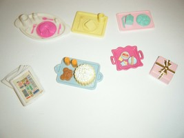 Barbie Fisher Price Loving Family Dollhouse Food Lot Trays Accessories - $13.37