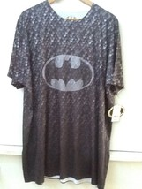 BATMAN 2XL All Over Scales Gray Print Shield Logo Mens SHIRT NEW with Tags - $19.95